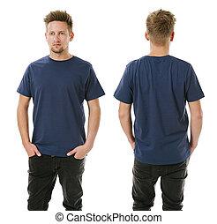 azul, camisa, posar, em branco, Marinha, homem