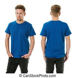 azul, camisa, real, posar, em branco, homem