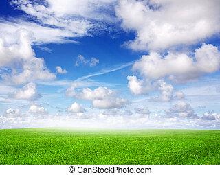 azul, campo, verde, céu