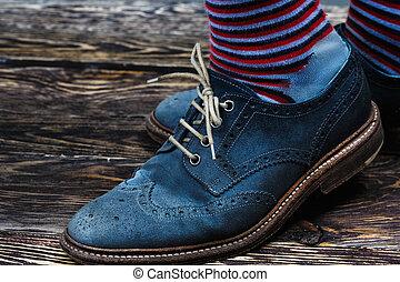 azul, camurça, sapatos