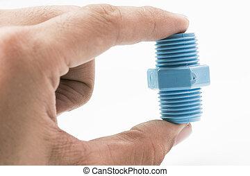 azul, cano, pvc, conexão