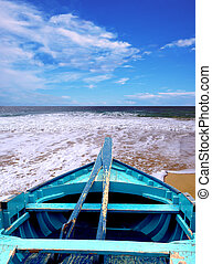 azul, canoa, em, a, b