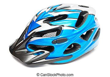 azul, capacete bicicleta