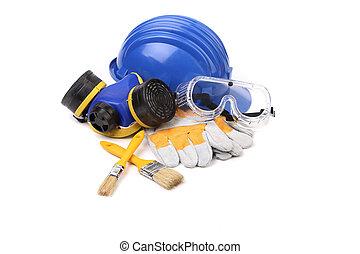 azul, capacete, goggles., segurança, respirador