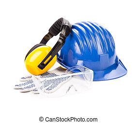 azul, capacete, segurança, fones ouvido