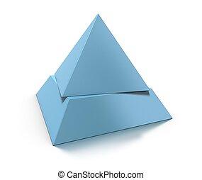 azul, capas, pirámide, tono, encima, cambiado, niveles, dos, plano de fondo, blanco, 3d