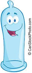 azul, carácter, caricatura, condón