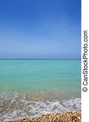 azul, caraíbas, horizonte, vertical, turquioise, céu, água, mar