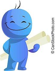 azul, caracter, ilustración, proyecto, vector, plano de ...