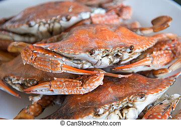 azul, caranguejos,  close-up, cozinhado