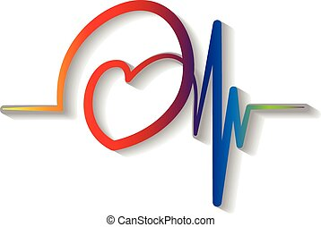 azul, cardiograma, logotipo, vetorial, vermelho
