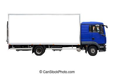 azul, carga, blanco, camión