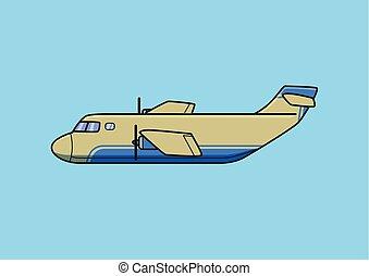 azul, carga, illustration., apartamento, aeronave, isolado, avião., vetorial, experiência., transporte