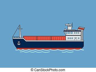 azul, carga, illustration., apartamento, isolado, experiência., vetorial, cargueiro, boat.