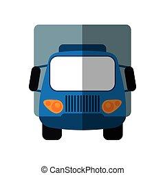 azul, carga, transporte, caminhão, pequeno, sombra