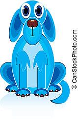 azul, caricatura, cão