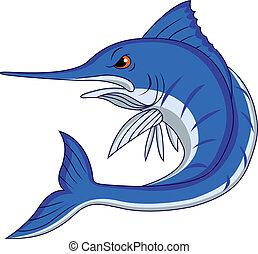 azul, caricatura, marlin