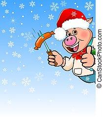 azul, caricatura, snowflakes, fundo, porca