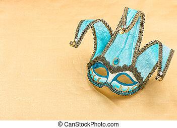 azul, carnaval, arlequín, máscara, vacaciones, Plano de fondo