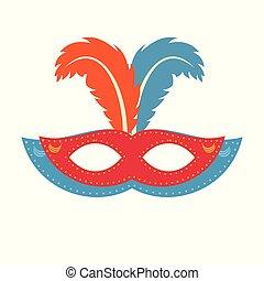 azul, carnaval, cor, máscara, day., fundo, brasileiro, laranja, branca, feathes, vermelho, feliz