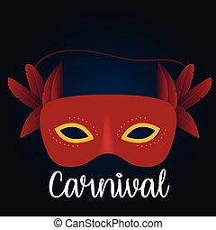 azul, carnaval, cor, máscara, tipografia, day., fundo, brasileiro, branco vermelho, feliz