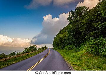 azul, carolina., norte, parkway, asheville, cume