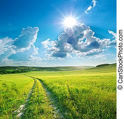 azul, carril, naturaleza, sky., profundo, camino, design.