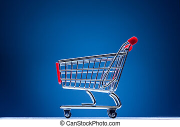 azul, carro de compras, plano de fondo