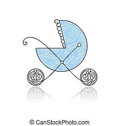 azul, carruagem bebê, desenho, seu