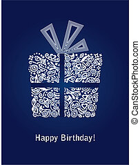 azul, cartão aniversário, feliz