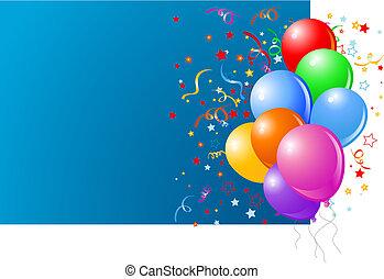 azul, cartão, com, balões coloridos