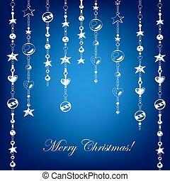 azul, cartão natal