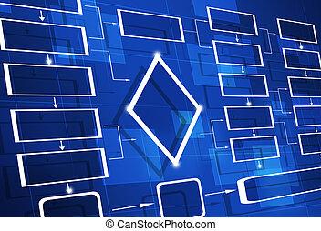 azul, carta fluxo, diagrama