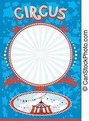 azul, cartaz, circo