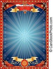 azul, cartaz, fantástico, natal, vermelho