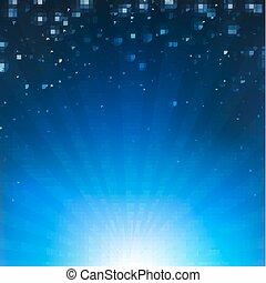 azul, cartaz, sunburst