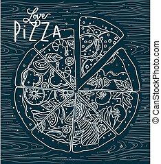 azul, cartel, amor, pizza