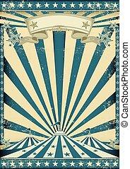 azul, cartel, circo, grunge