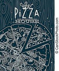 azul, cartel, madera, pizza