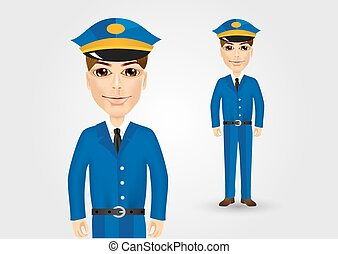 azul, cartero, amistoso, uniforme