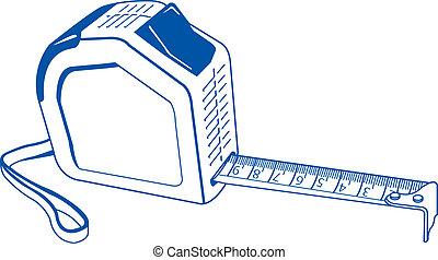 azul, cartuchos, vect, metros, contorno