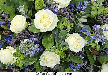 azul, casório, flor, branca, arranjo