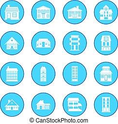 azul, casas, ícone