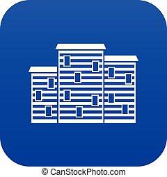 azul, casas, ícone, digital