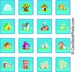 azul, casas, app, ícone