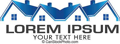 azul, casas, bens imóveis, image., vetorial, ícone