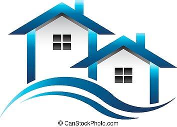 azul, casas, bens imóveis, logotipo