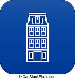 azul, casas, digital, holandês, ícone