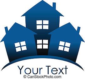 azul, casas, vector, -, icono