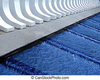 azul, cascada, agua